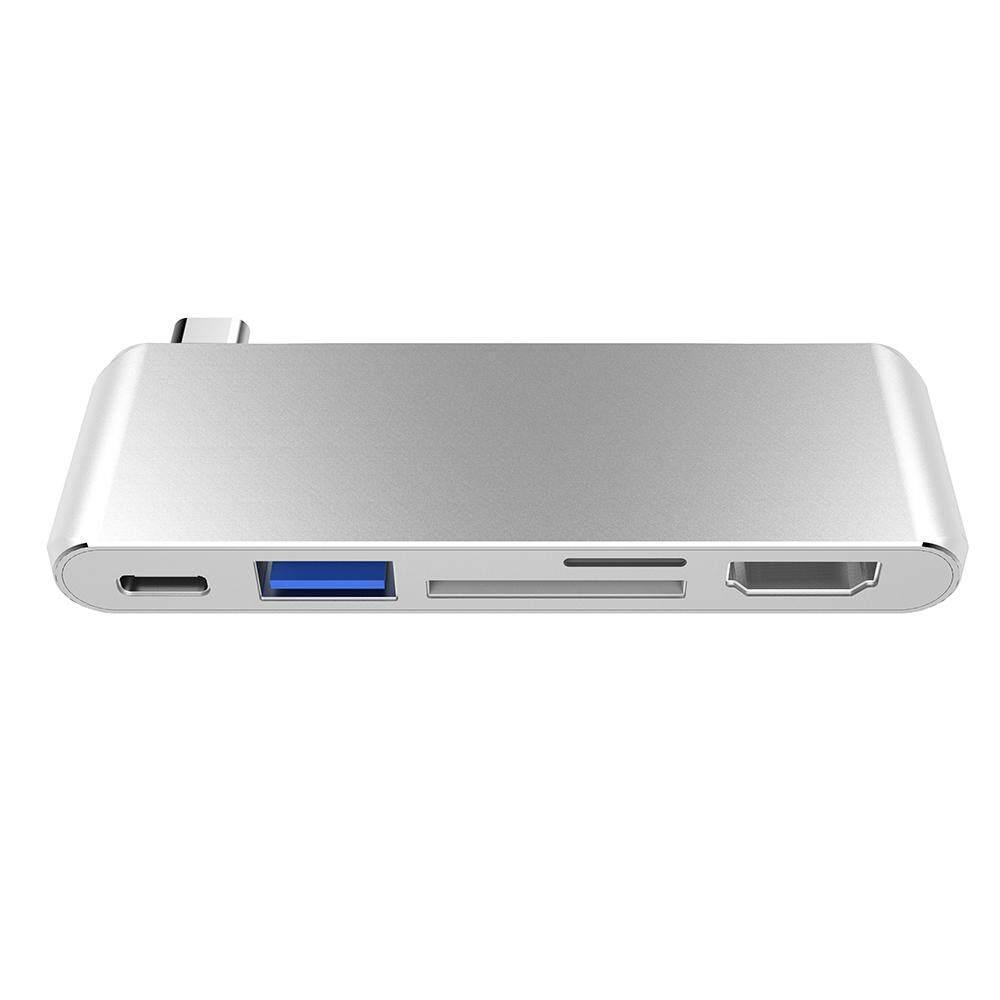 5 In 1 USB-C Usb 3.0 Hub HD Port Multi USB3.1 Tipe-C Splitter Adaptor TF Pembaca Kartu SD untuk Macbook windows Chrome OS-Intl