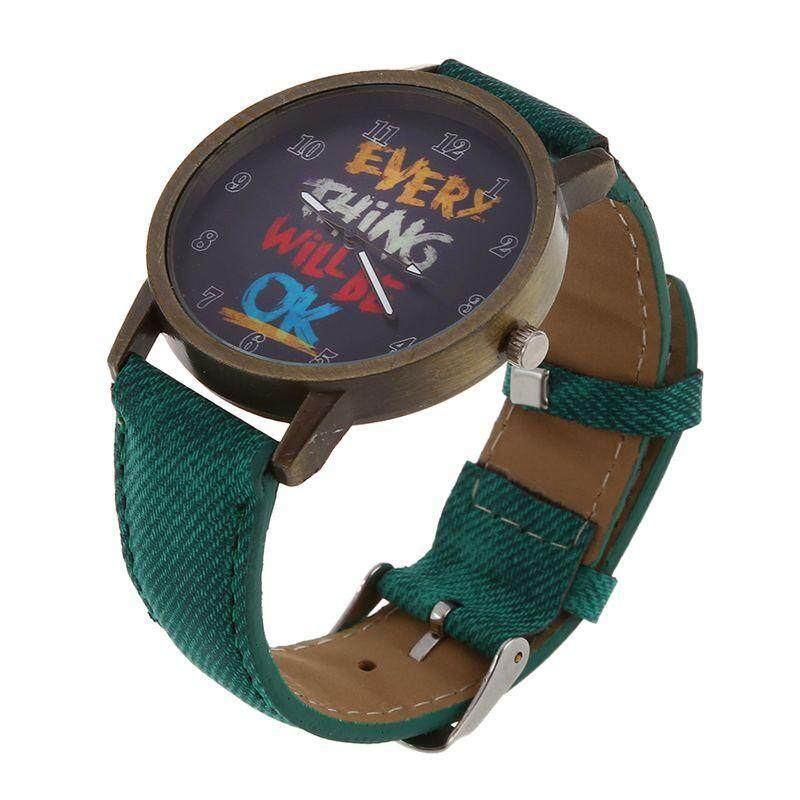 Female Male All is Good Cartoon Fake Leather Band Quartz Wrist Watch green Malaysia