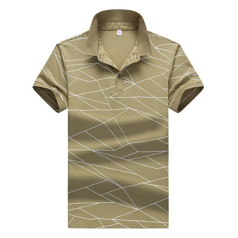 Grandwish Pria Desain Garis POLO Kemeja Remaja Kaus M-3XL