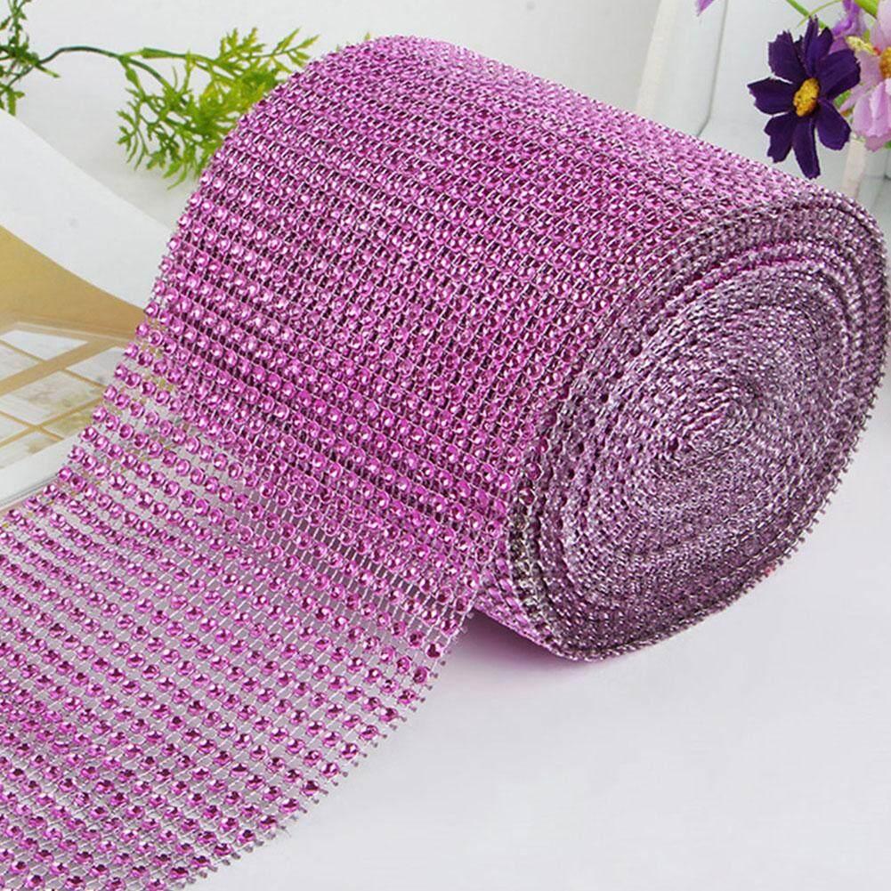 Tookie 10 Yards Diamond Rhinestone Ribbon Mesh Wrap Wedding Party Floral Decor 6 Colors