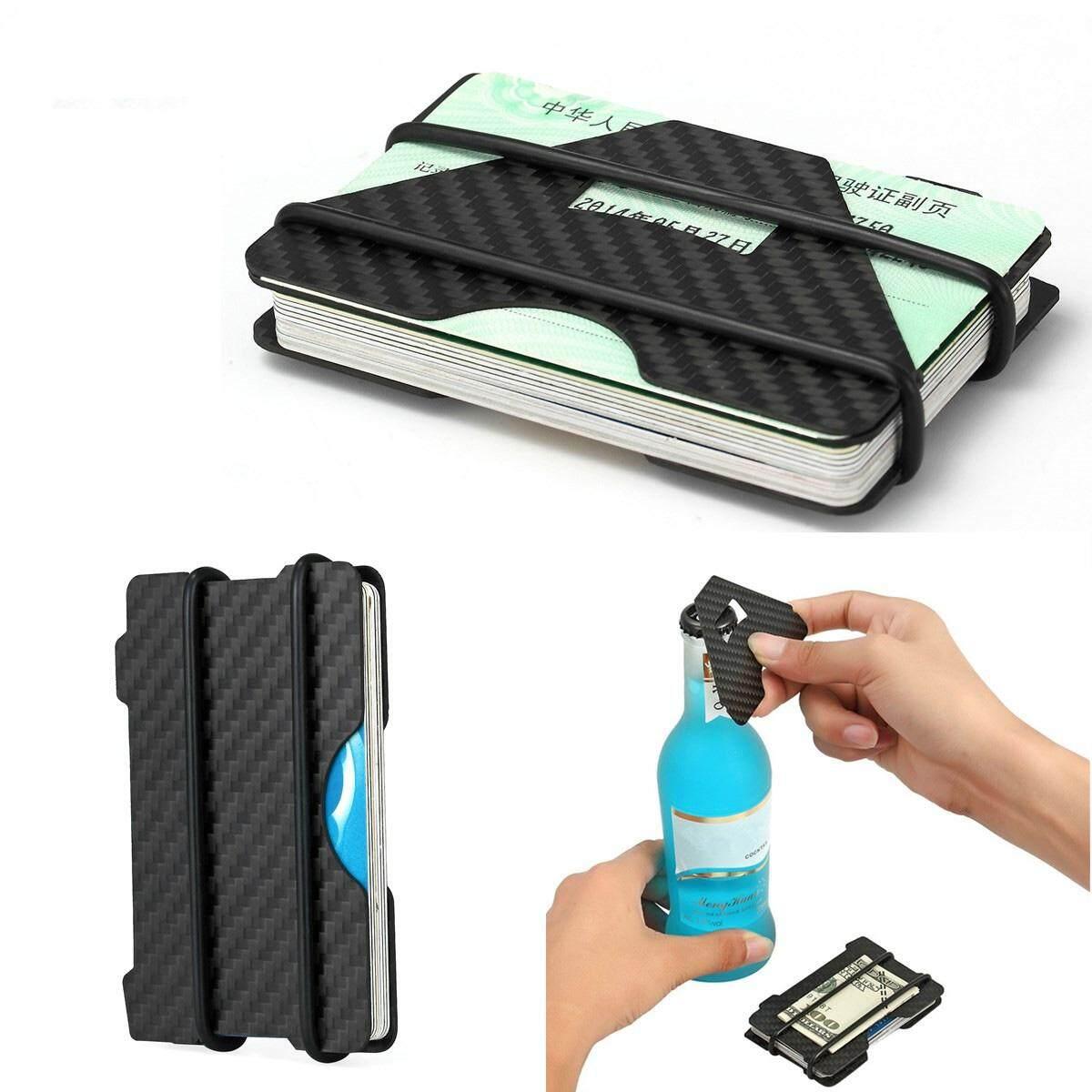 Carbon Fiber RFID Blocking Slim Credit Cards Holder Men Wallet Money Clip Purse #Black 3