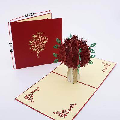 3d red tree card