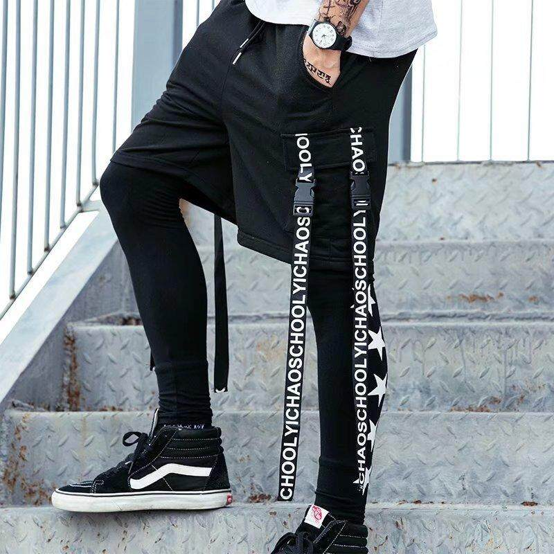 Europe And America High Street Hip Hop Ribbon Five Points Shorts Men Oversize Loose Street Dance Sweatpants By Hypebeast Collection.