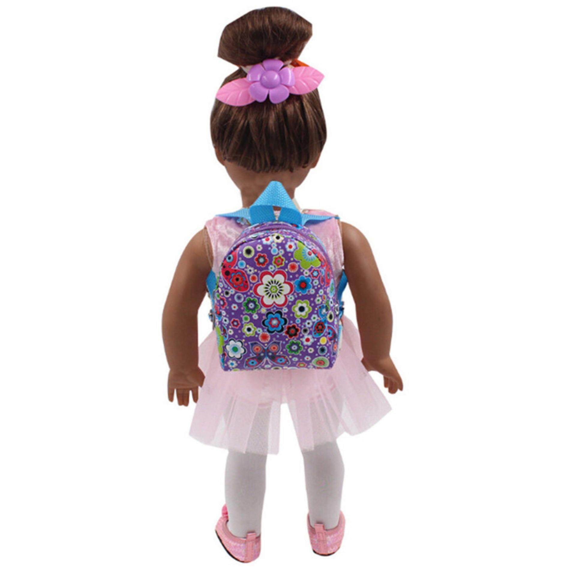 96a2063263e8 Lovely Doll Backpack School Bag For 18 Inch American Girl 43cm Zapf Baby  Dolls