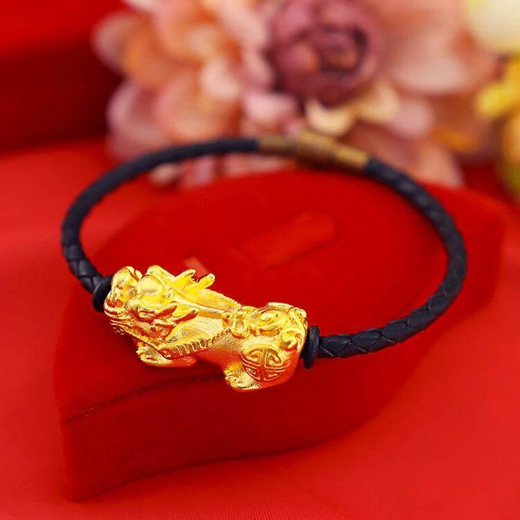 Lucky Fortune 18 K Gold Pixiu Maskot Tali Kulit Merah Menenun Gelang Wanita Pria