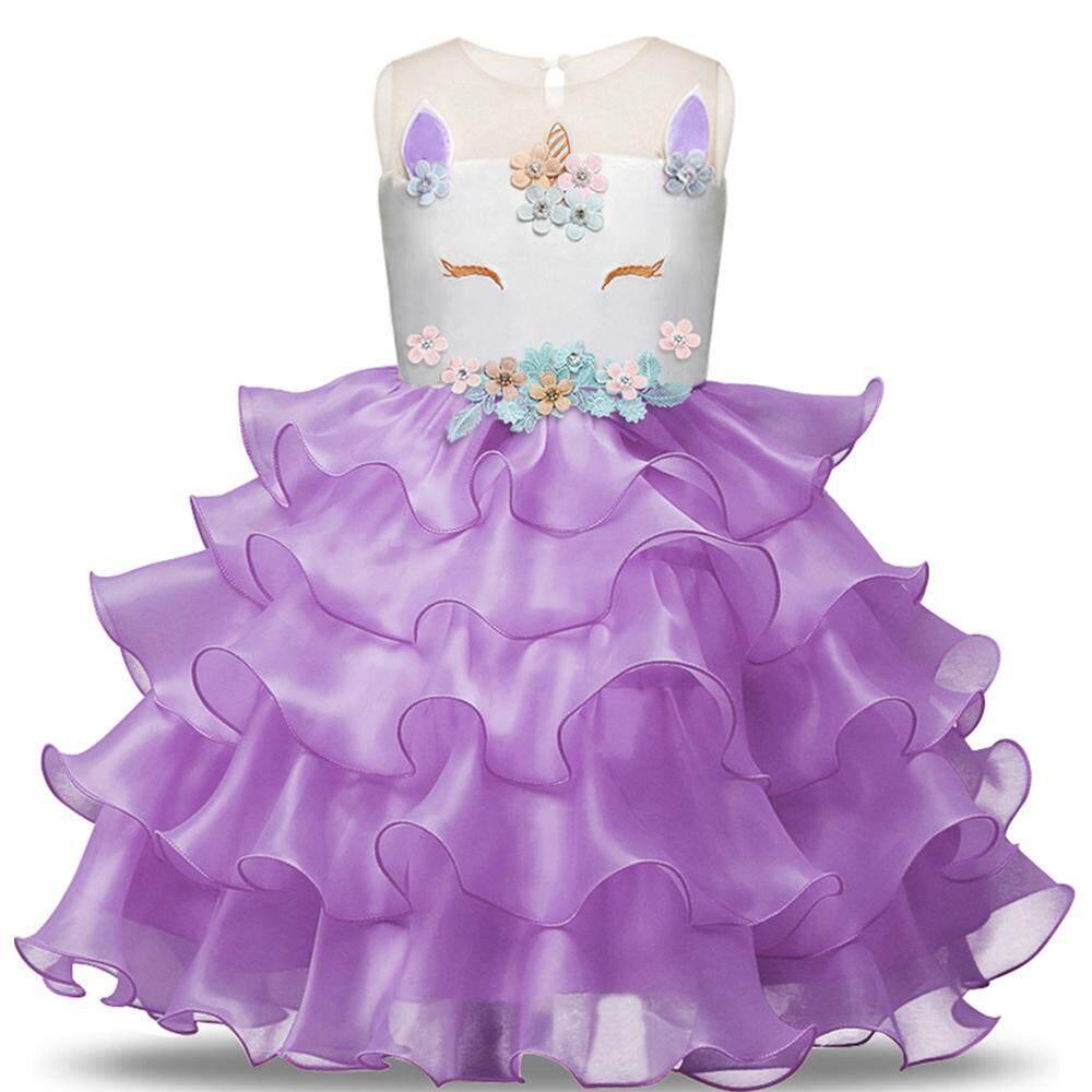 Jnan Panas Unicorn Pesta untuk Anak Perempuan Bordir Prom Gadis Bunga Putri Unicorn Gaun Kue Seragam