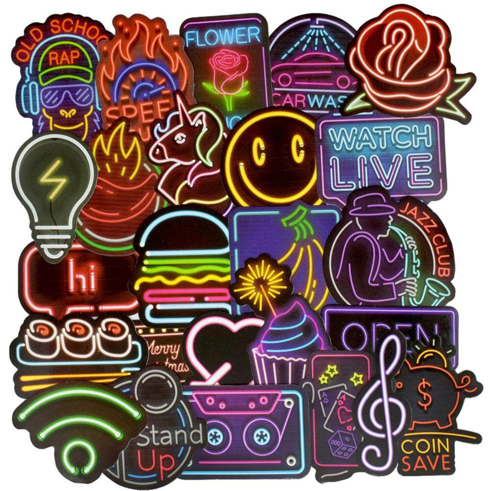 50 pcs neon light sticker anime icon animal cute decals stickers for laptop suitcase guitar fridge