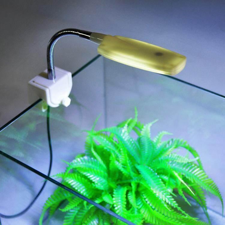 Akuarium Mini Tangki Ikan Lampu LED Terdistorsi Lampu Meja Fleksibel Lumen Putih Biru-Internasional