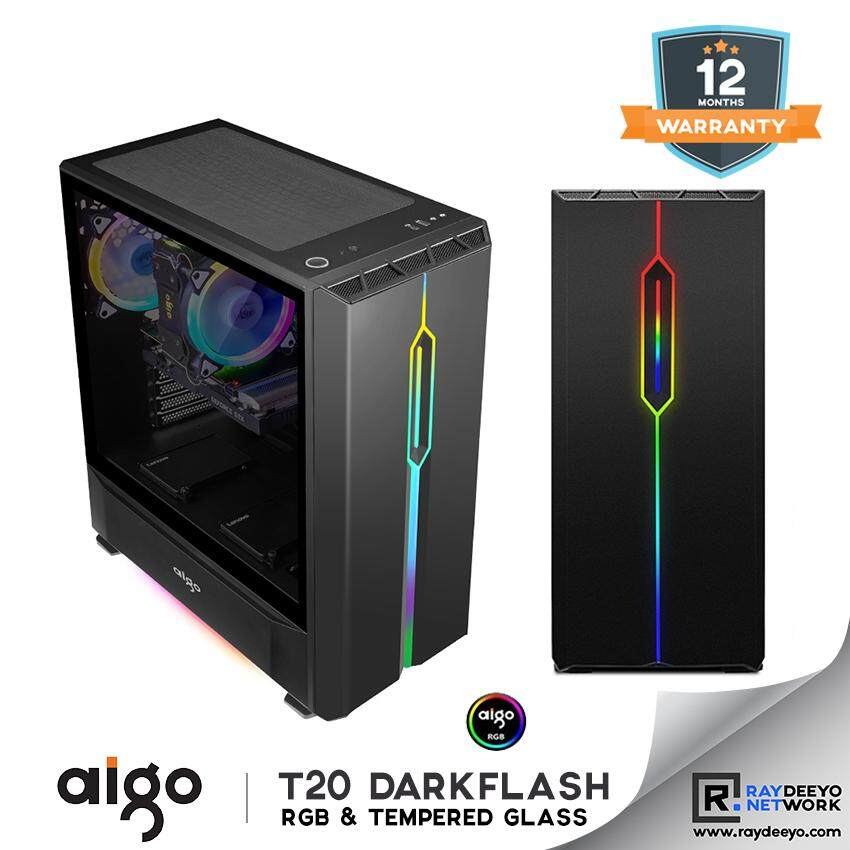 Aigo Darkflash T20 ATX Tempered Glass Full Window Chassis (Casing with Sparkling J3 3-In-1 Spectrum RGB)  [Built in Aurora RGB Strips] Malaysia