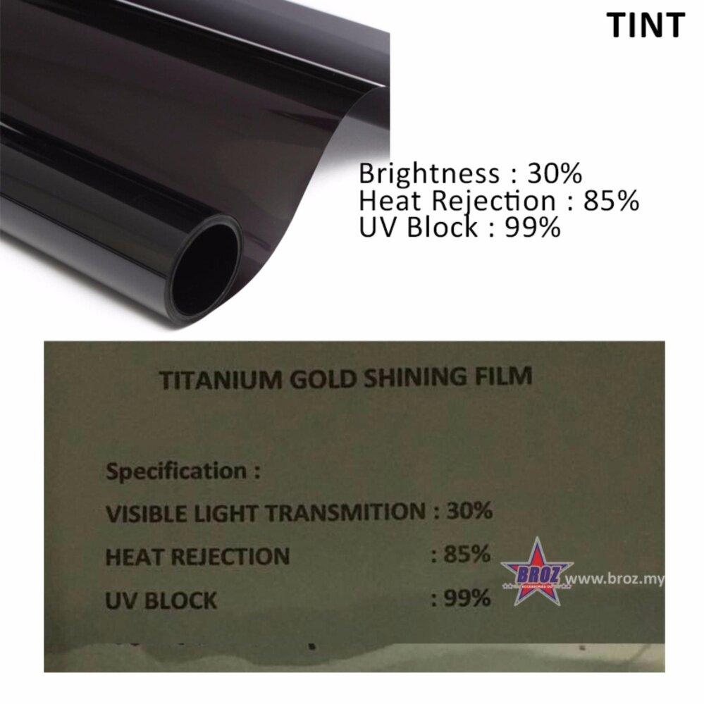 Broz (5ftx100ft) Titanium Gold Shining Film 30% Solar Control Window Film Tint Film For Car Front Windscreen
