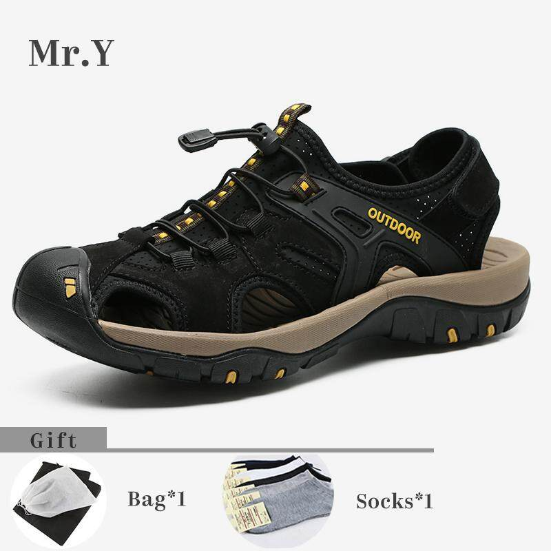 4ac6fcc18d48c Mr.Y Men Sport Outdoor Hiking Sandals Breathable Trekking Shoes Trail Water Shoes  Cow Leather