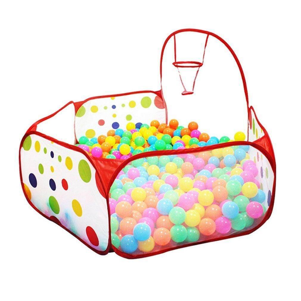 Elec Polka Dot Pola Lipat Anak-Anak Bermain Rumah-Rumahan Tenda Outdoor & Indoor Tenda Basket 0.9 M-Intl By Electron3c.