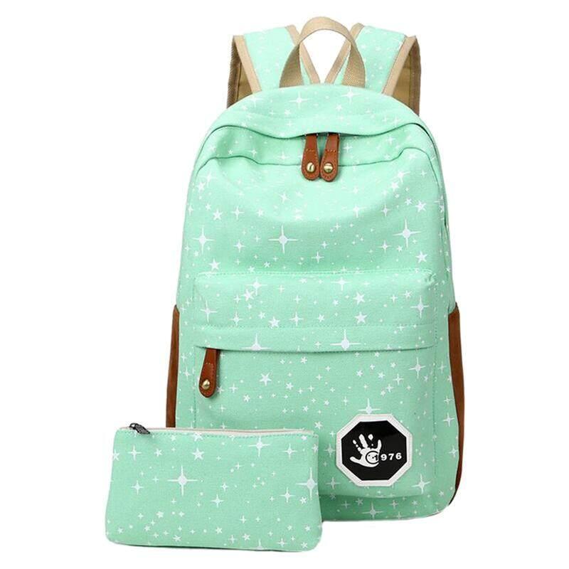 2 pcs/set Fashion Star Women Men Canvas Backpack School Bag For girl Boy Teenagers Casual Travel bags Rucksack, Green