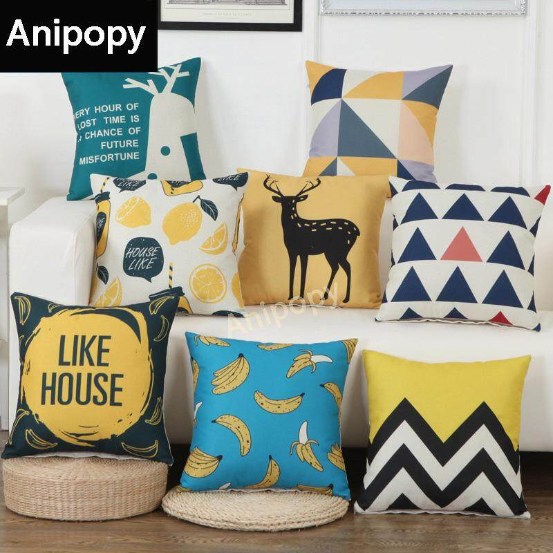 8 Pcs/Set Throw Pillow Cases Cotton Linen Sofa Pillow Cover Cartoon Design Cushion Covers 18 X 18 Inch 45 x 45cm