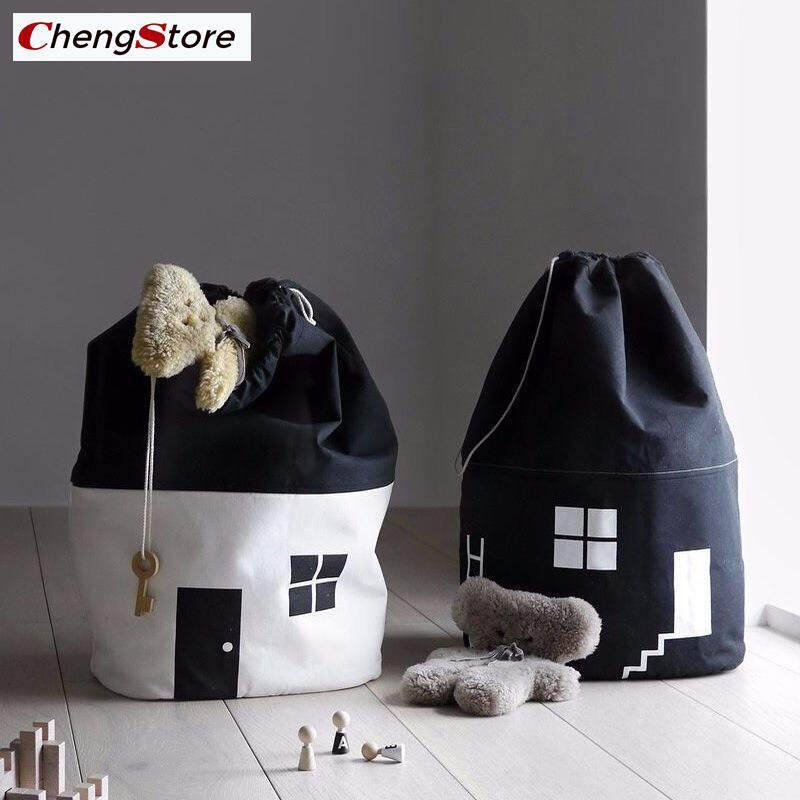 Large Capacity Cute House Storage Bag Kids Pure Cotton Canvas Toys Beam Port Pouch Organizer By Chengstore.