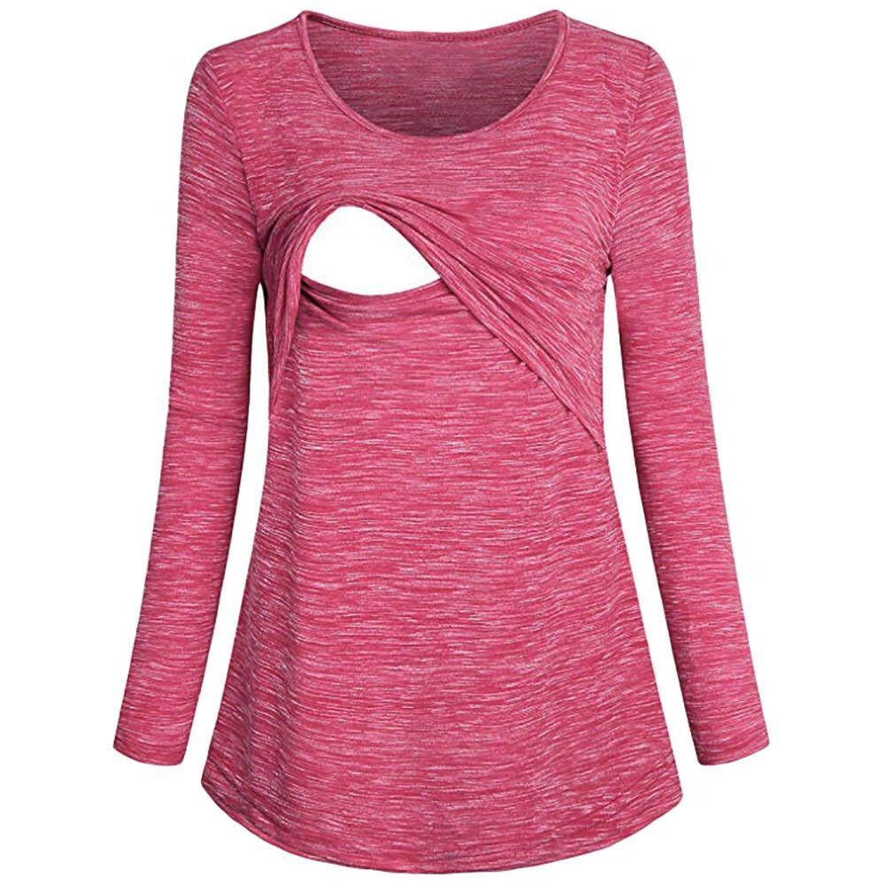 593efcae1790 Free Shipping Women s Maternity Nursing Long Sleeves Casual Top  Breastfeeding Clothes Blouse