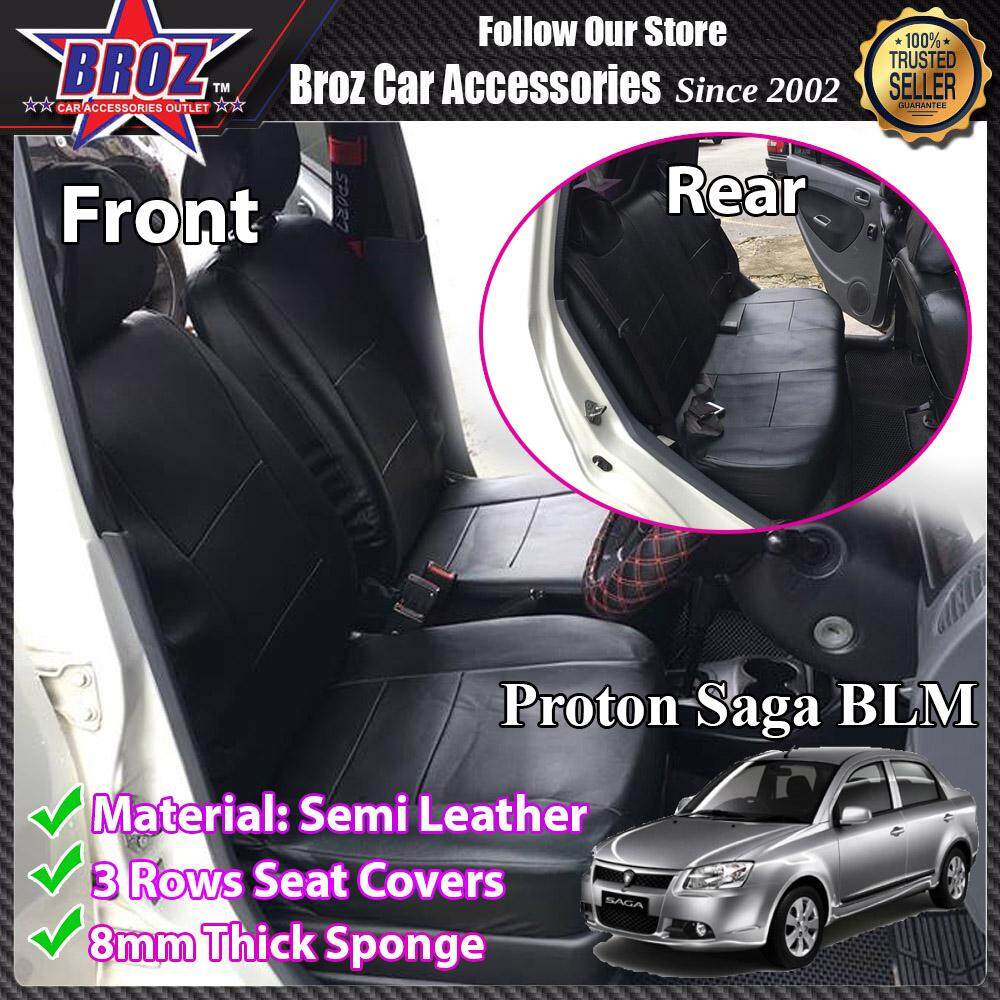 Broz Car Seat Cover Case Semi Leather Proton Saga BLM Front and Back - Black (Made in Malaysia)