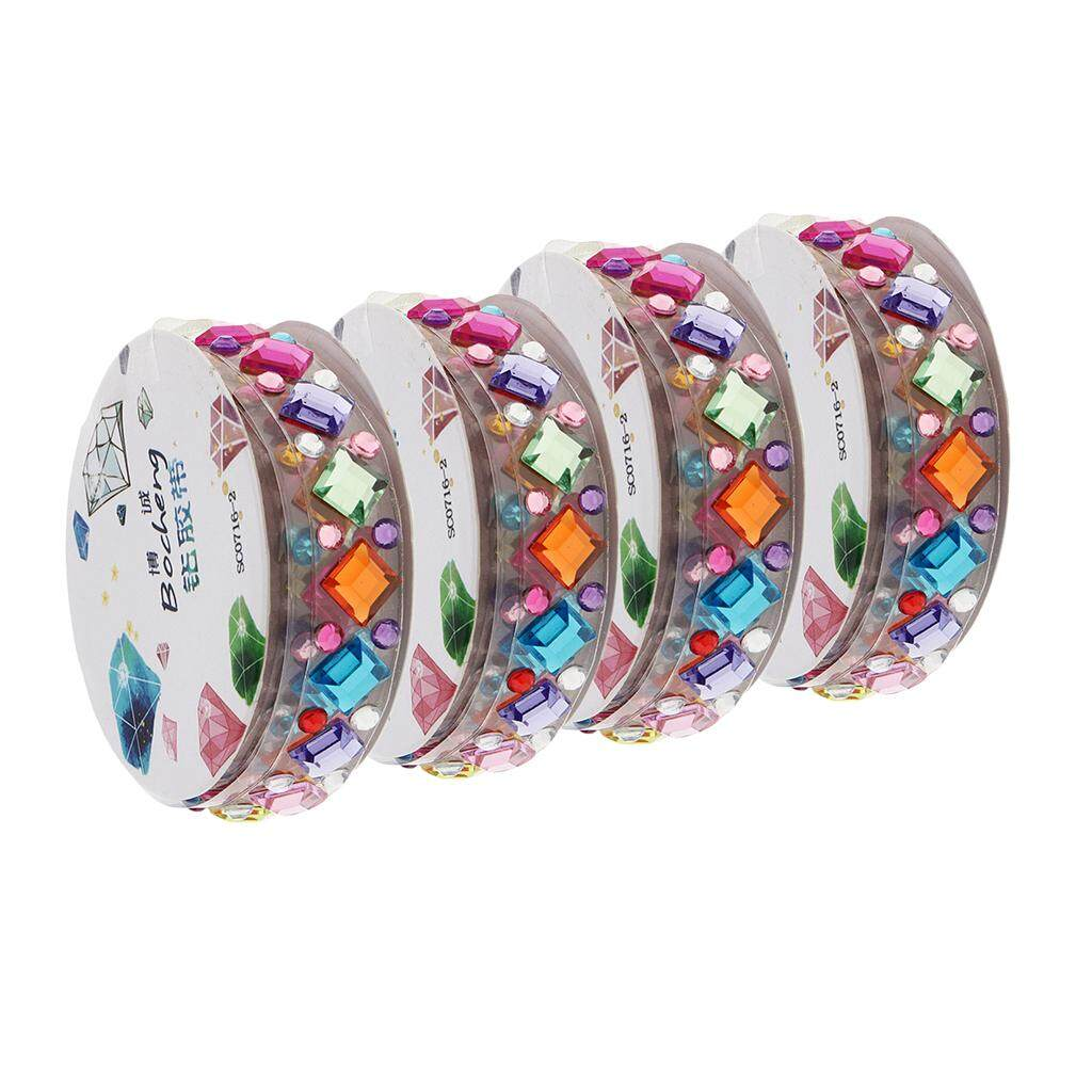 Bolehdeals 4 Roll Different Shape & Color Self-Adhesive Acrylic Rhinestone Sticker Tape By Bolehdeals.