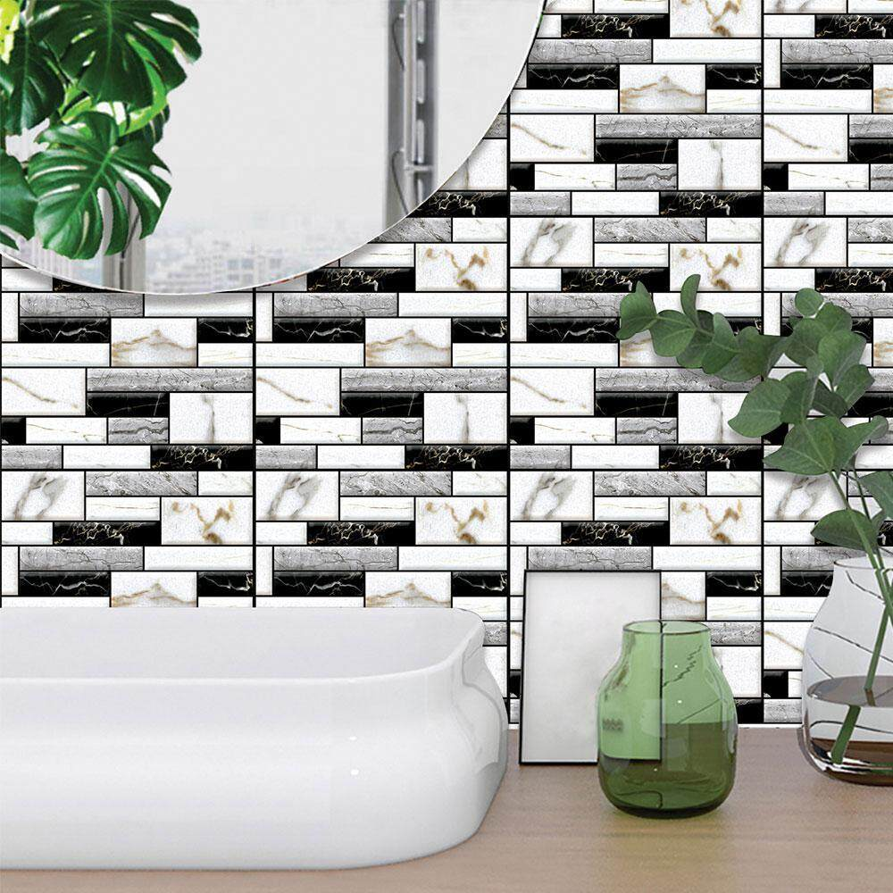 Fortunet 3D Wall Tile Stickers Peel/Stick on Tiles for Kitchen / Bathrooms / Living Rooms / Bedrooms,Oil-proof, Waterproof Tile Stickers,12x12,5 Pcs Pack - intl