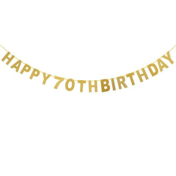5M Happy 70th Birthday Glitter Golden Garland Bunting Banners For Decoration