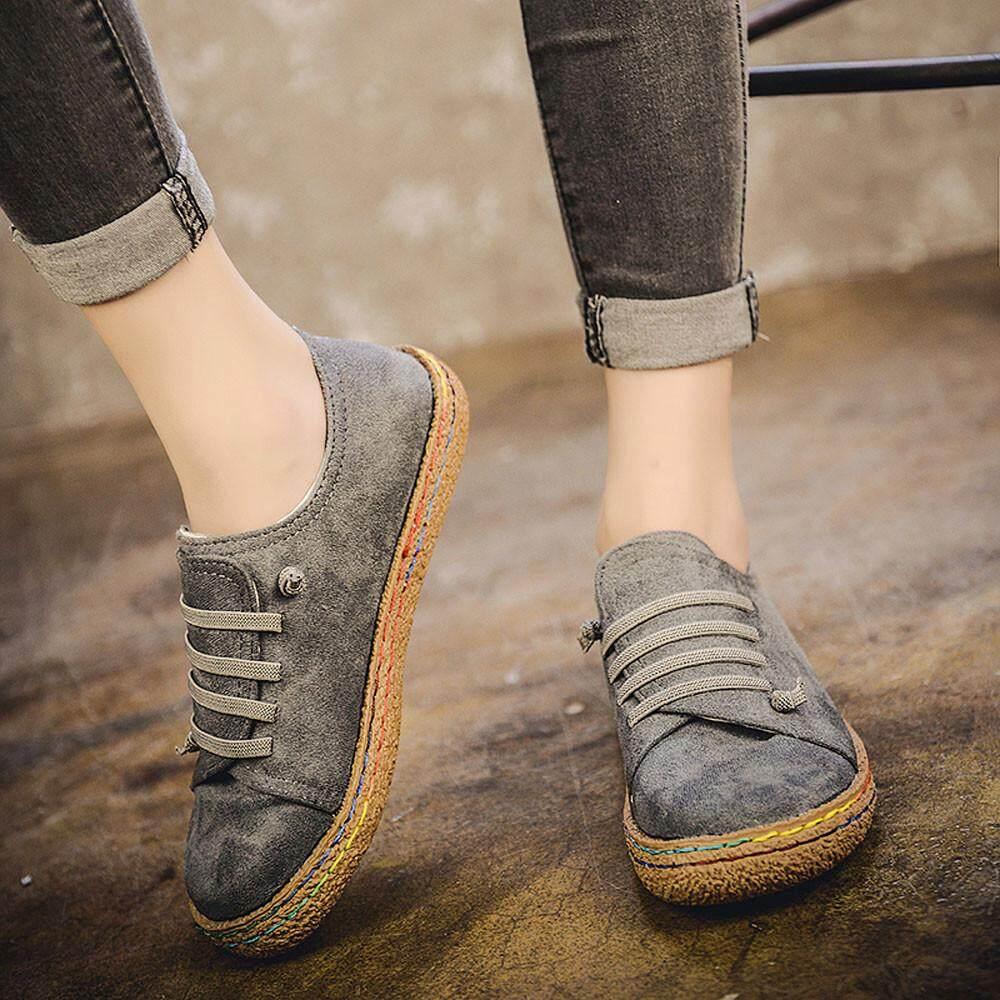 Foctroes ผู้หญิงแบนนุ่มข้อเท้ารองเท้าเดียวหญิง Suede หนัง Lace - Up - Intl By Foctroes.
