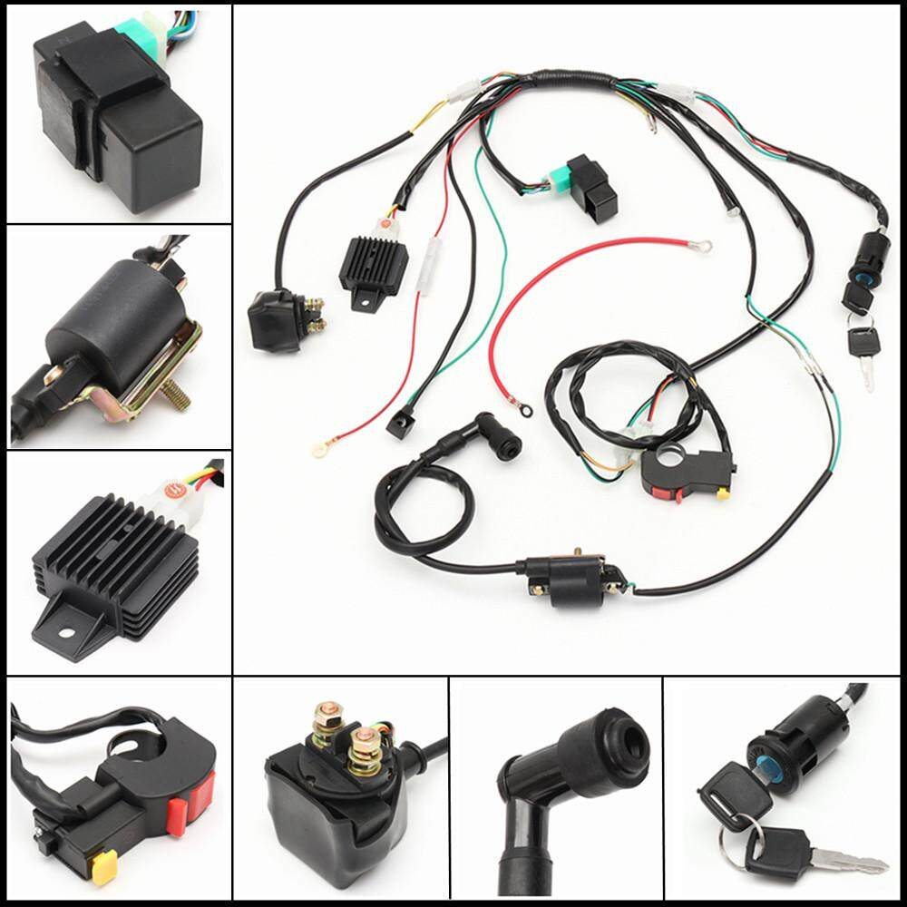 Features 281879812381 Full Electrics Wiring Harness 50cc 70cc 110cc Sunl Go Kart Complete Electric Start Engine Loom 110 125cc Quad Bike Atv Buggy
