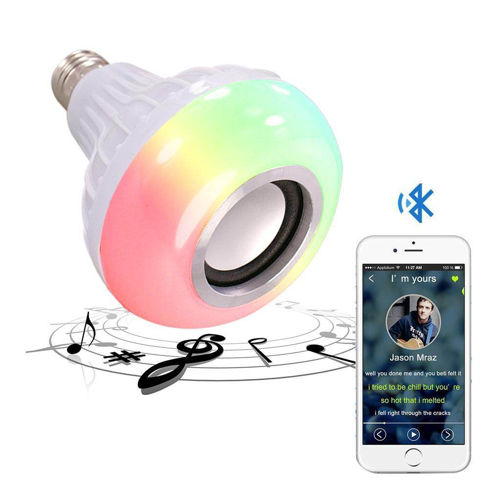 GoodGreat Bluetooth Light Bulb Speaker RGB Color Changing Dimmable LED Light Bulbs Built-in Wireless Stereo Audio Speaker E26 Base Smart Music Light With 24 Keys IR Controller - intl