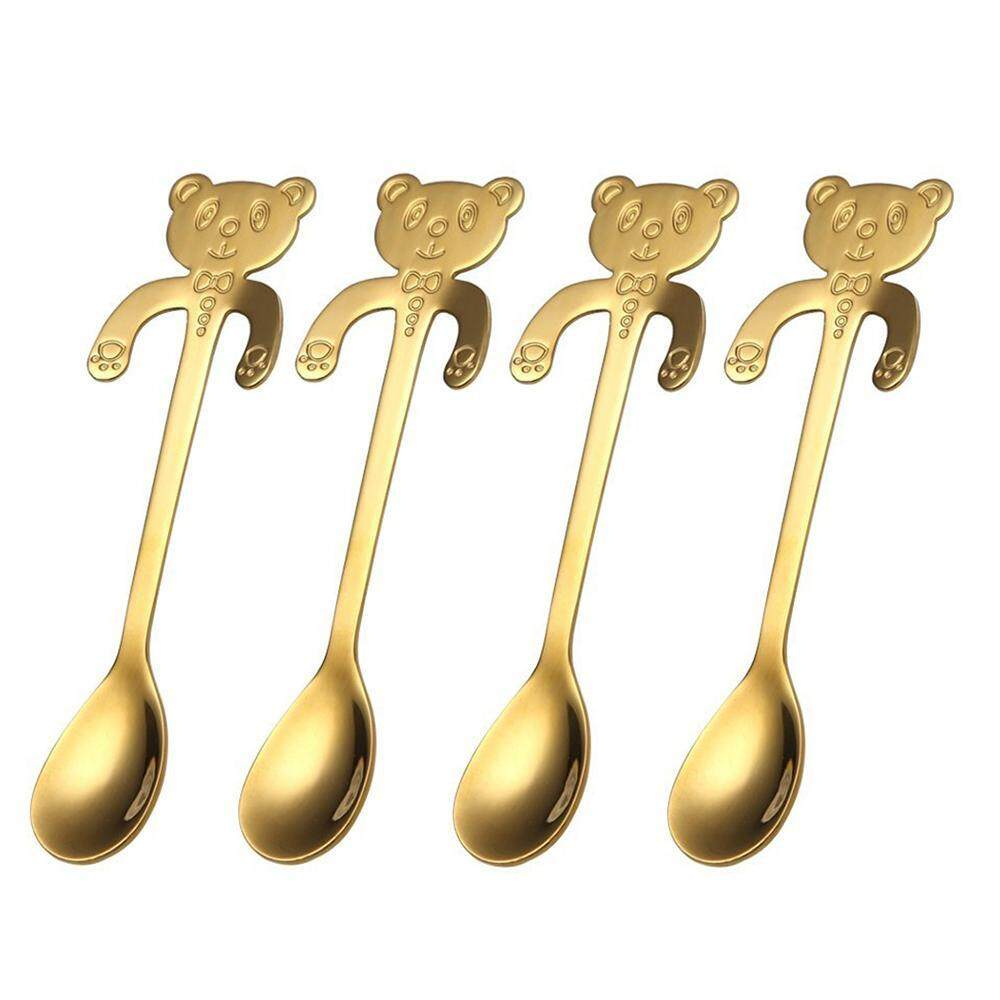 Yueshunbuha 4 Pcs/set Anti Karat Lucu Creative Beruang Sendok untuk Teh Kopi Dessert Drink Mixing Milk Shake Sendok-Internasional