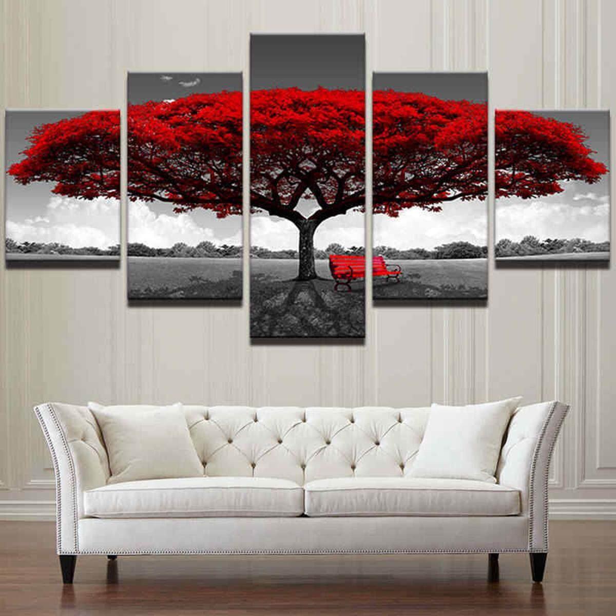 Trang Trí nhà In Canvas Tranh Nghệ thuật treo Tường Hiện Đại Đỏ Cây Phong Cảnh Cuốn Tặng 10x15x2 10x20x2 10x25