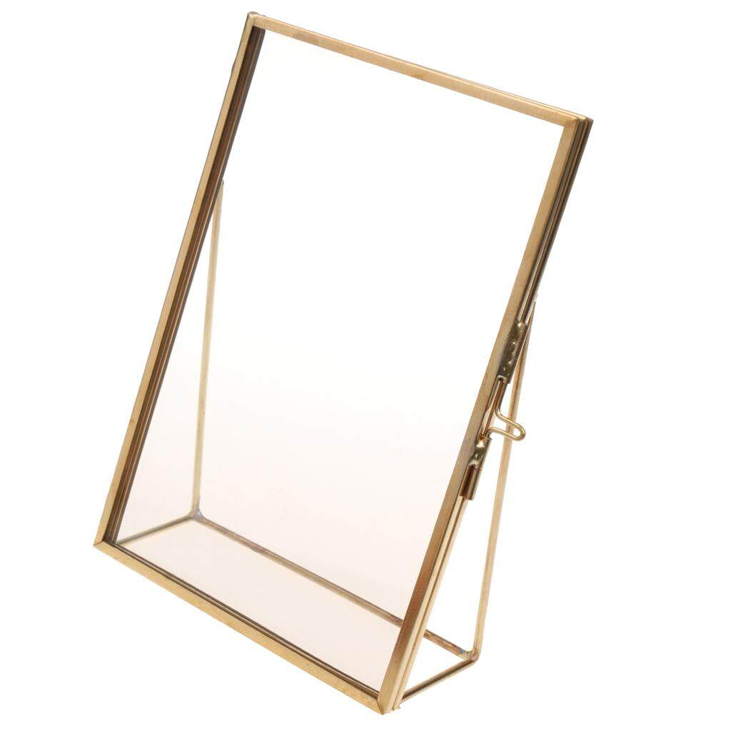 GuangquanStrade Antique Gold Brass Glass Photo Picture Frame Portrait Home Decor 6x8in