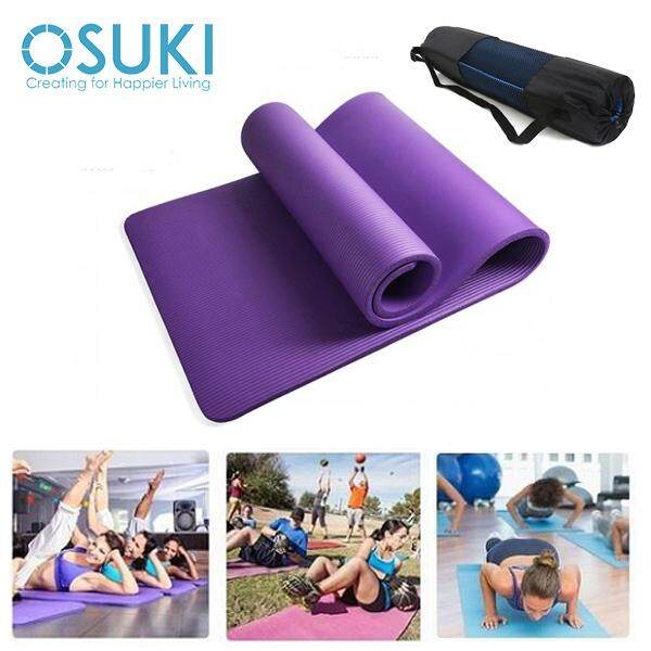 OSUKI Yoga Mat 10mm Non Slip Sports Authentic Fitness Purple -(With Carry Bag)