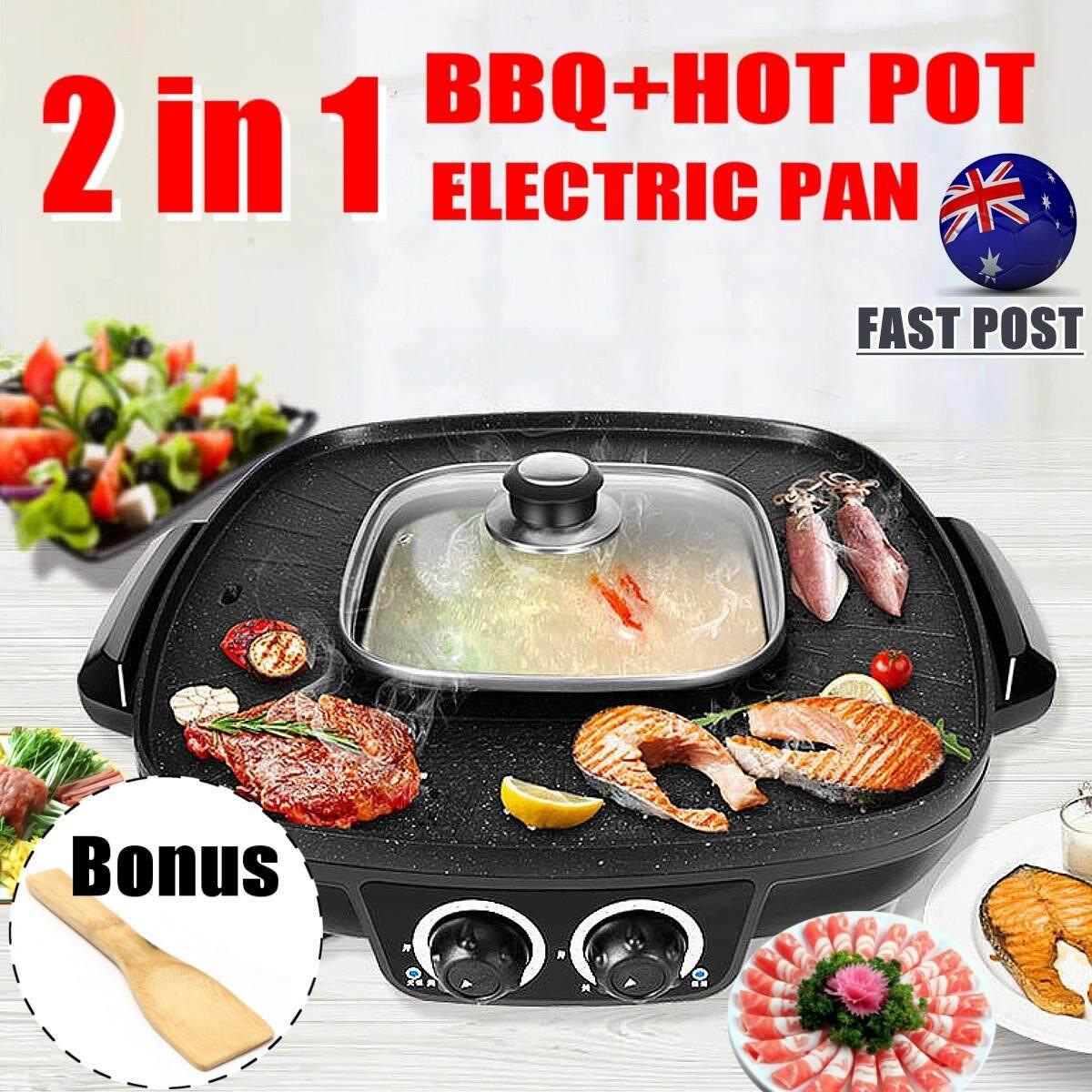 Large Bbq Electric Pan Complete Set Black Coat Plate Shabu Grill Boil Soup Thai By Audew.