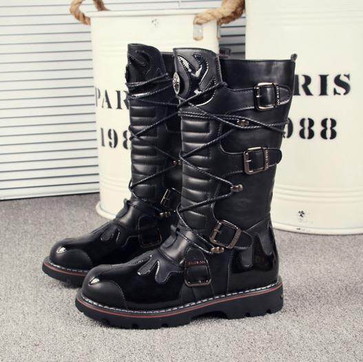 2785fca844ca1 Korean Style England Boots Martin Boots Men Punk Riding Boots Boots\n  Leather Boot Leisure