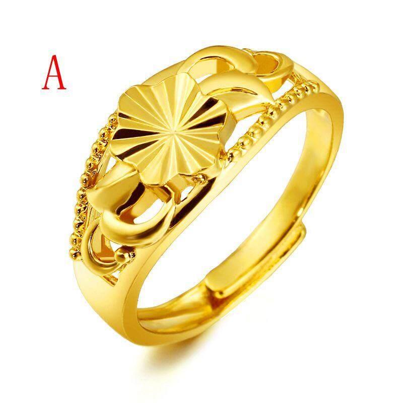 Mewah 24 K Saudi Cincin Lapis Emas Adjustable Terbuka Cincin Hadiah Perhiasan -