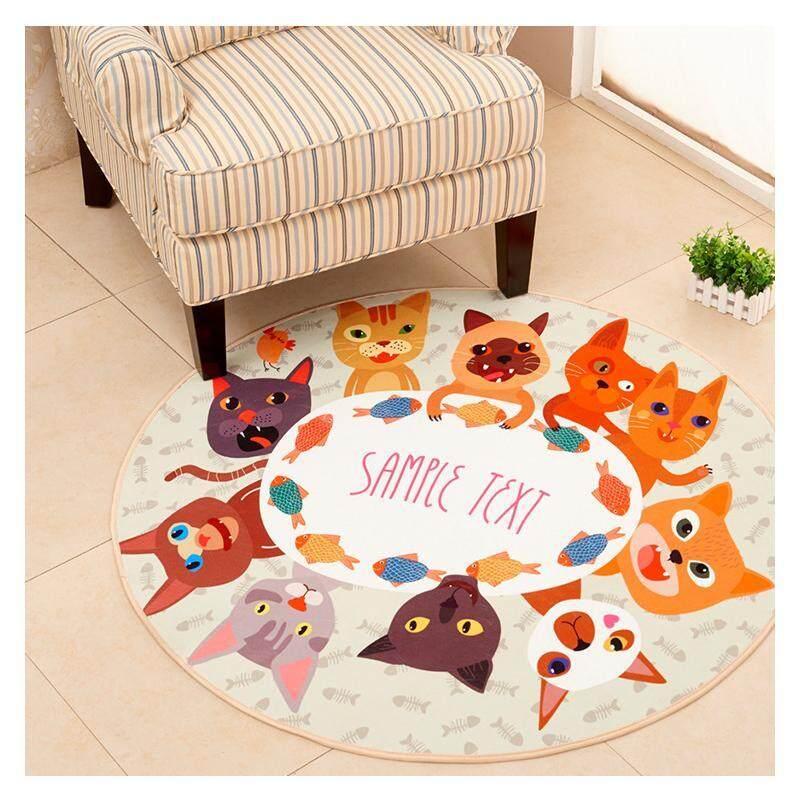 [OrangeHome] Diameter 60 (CM) (1 pc) LivingRoom Bedroom Modern Simple Round Carpet Floor Mat Rug diameter 60 (CM) (1 pcs) Cats&Fish - intl