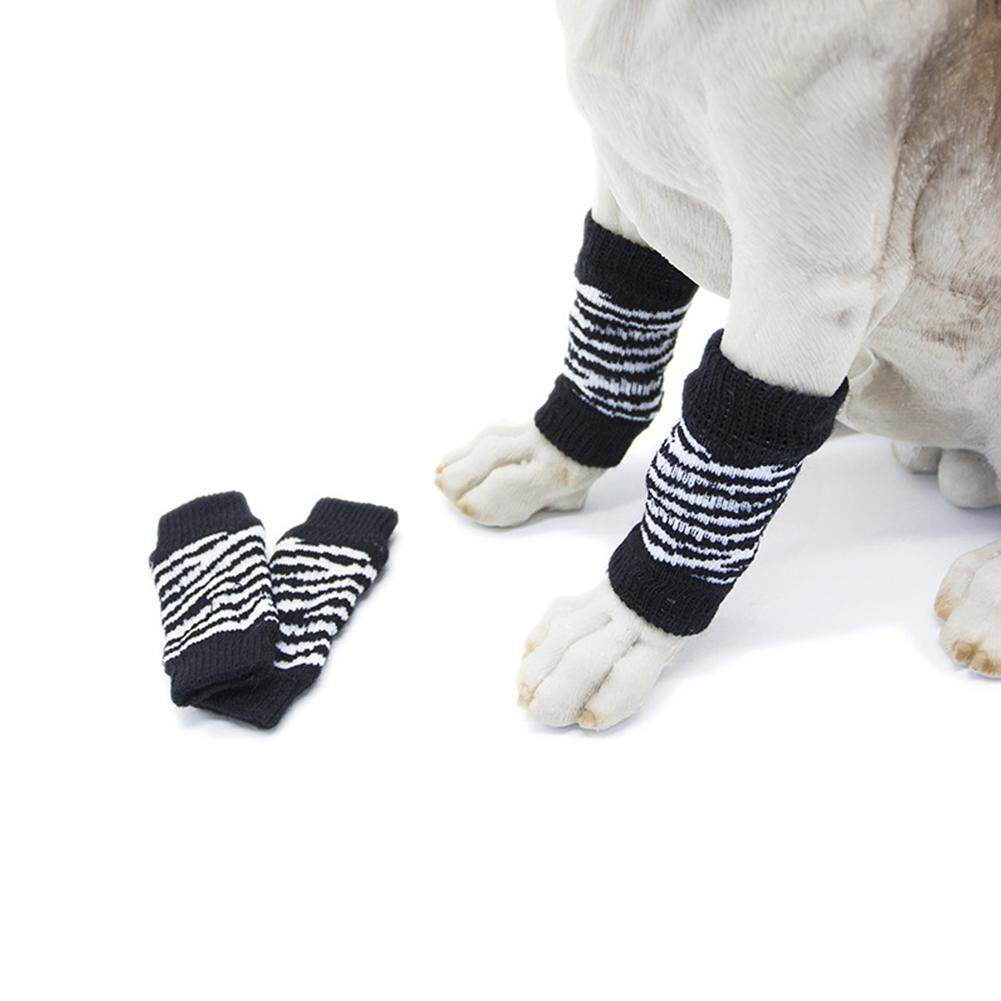 Big House 4pcs/set Pet Kneecap Socks Leg Protector Injury Foot Protective Sleeve Protect Wounds For Pet Supplies Stype:black And White(l) By Big House.