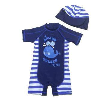 Veecome Baby Boys Whale One Piece Bikini + Hat 2 Pcs/Set Swimsuit For Summer