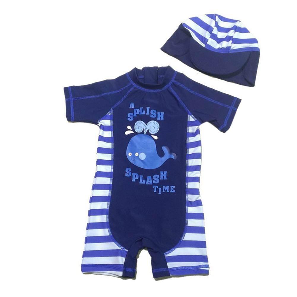 9625819e0ca Starmall Baby Boys Whale One Piece Bikini + Hat 2 Pcs Set Swimsuit Summer  Beach