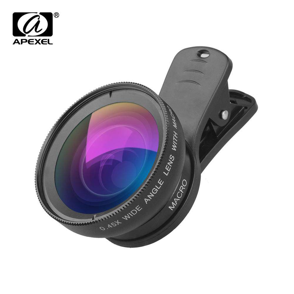 Apexel Apl-0.45wm Phone Lens Kit 0.45x Super Wide Angle & 12.5x Super Macro Lens Hd Camera Lenses With Lens Clip For Iphone Samsung Huawei Xiaomi More Smartphone By Tomtop.