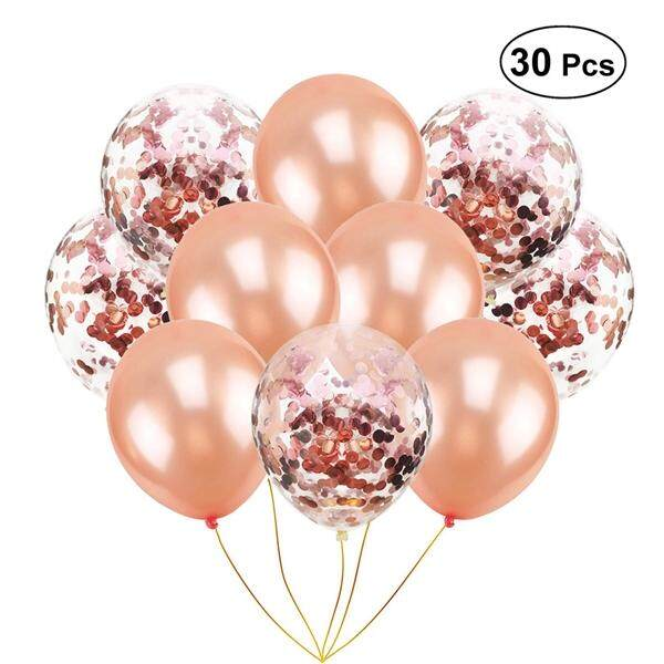 30pcs 12inch Rose Gold Paillette Confetti Balloons Clear With Glitter Party Supplies Decoration
