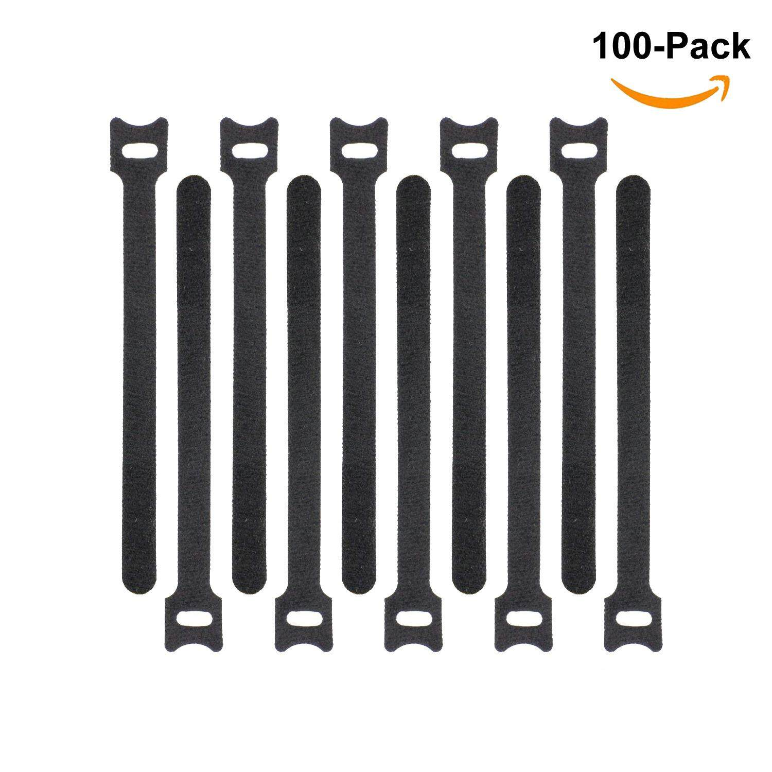 100pcs Reusable Fastening Cable Ties Velcro Magic Tape Wrap Hook and Loop Cord Wire Organizer Straps for PC TV Electronics Wire Management