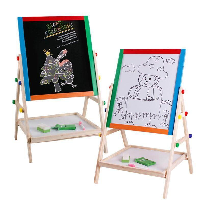Double Side Adjustable Wooden Kids Art Drawing Board Easel Chalk Blackboard & White Dry Erase Surface With Magnetic Sponge Marker Pen Chalks And Bottom Tray Learning Play For Kids By Smartonn.