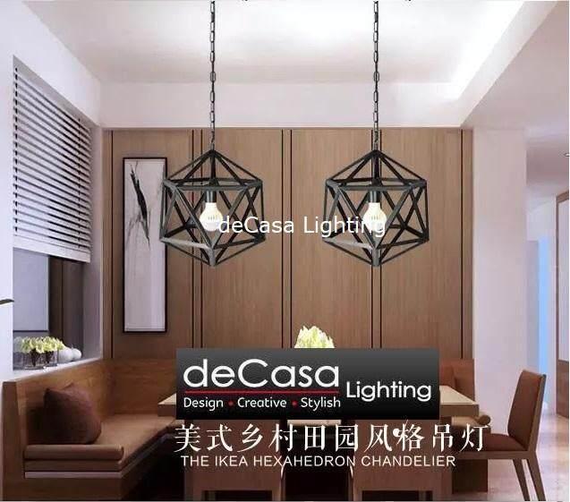 Diamond Series Lampu Hiasan Gantung Ceiling Light Loft Black Pendant Jl 10153 400 Bk