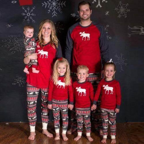 66b1324b74 XMAS Moose Fairy Family Matching Christmas Pajamas Set Women Baby Kids Deer  Sleepwear Nightwear Red Cotton