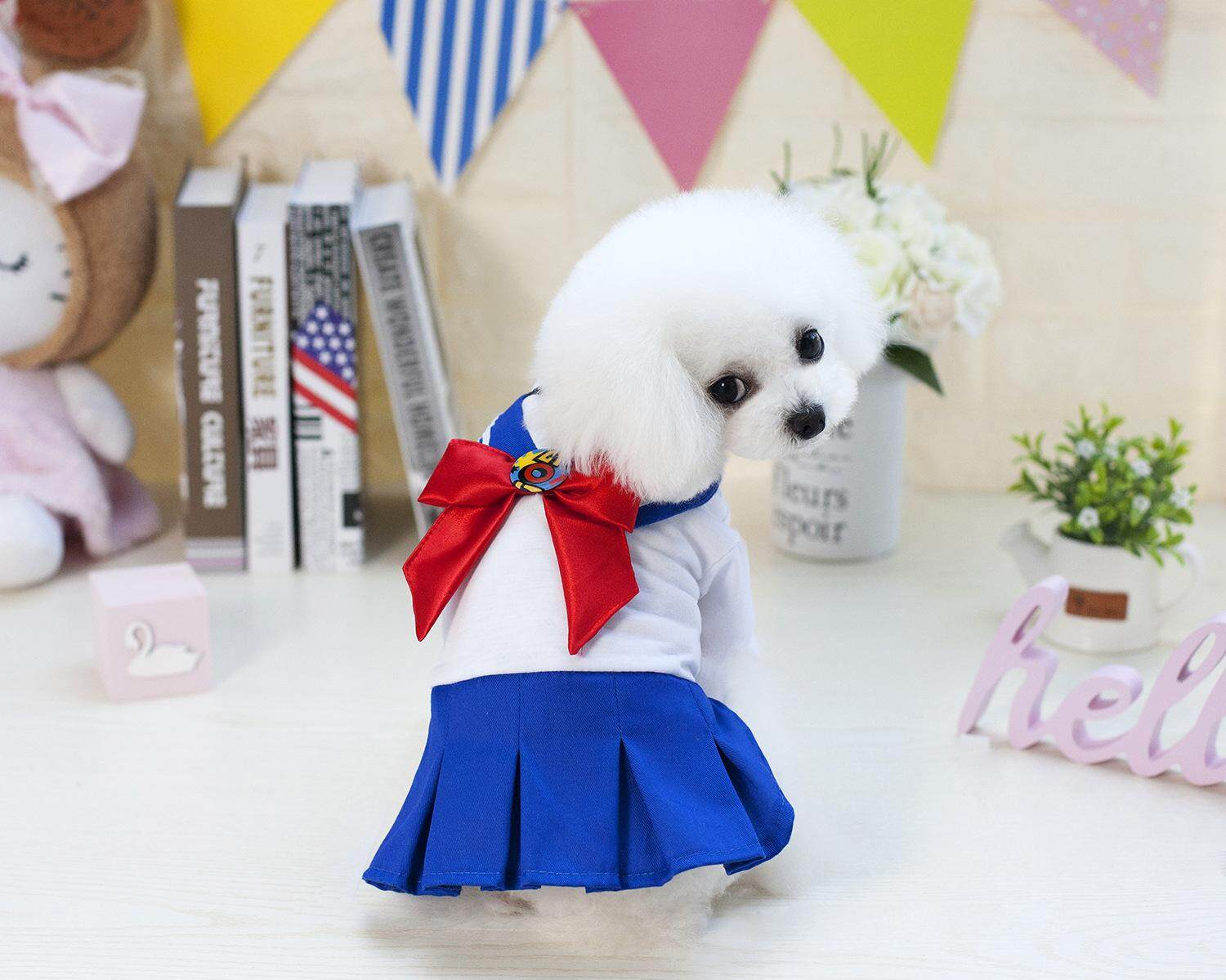 Hình ảnh Kawaii Sweet Bow Tie School Uniform Dress Cat Clothing Pet Clothes for Dogs Yorkie Maltese Chihuahua Spring Summer