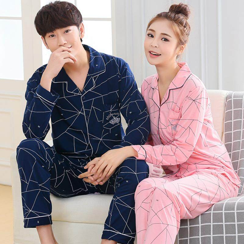 The spring and autumn and winter couple knitted cotton pajamas long sleeved  male ladies thin cardigan 980d7f467