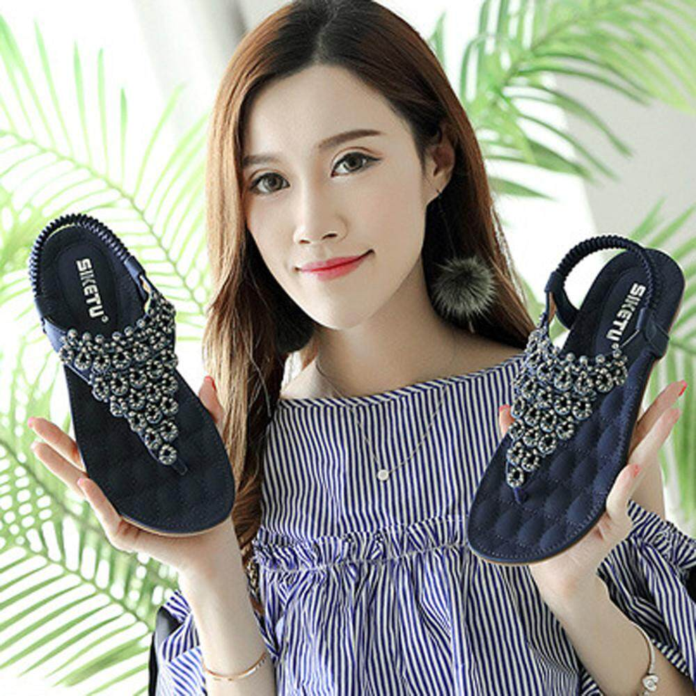 MMHWall Women Flat Shoes Bead Bohemia Lady Slippe Sandals Peep-Toe Outdoor  Shoes - intl 04b3d7bf6239
