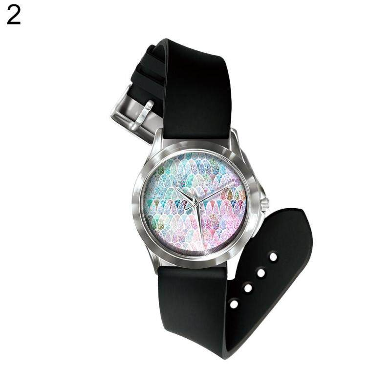 Phoenix B2C Rainbow Fish Scales Round Dial Analog PVC Band Unisex Quartz Wrist Watch Gift (2#) Malaysia