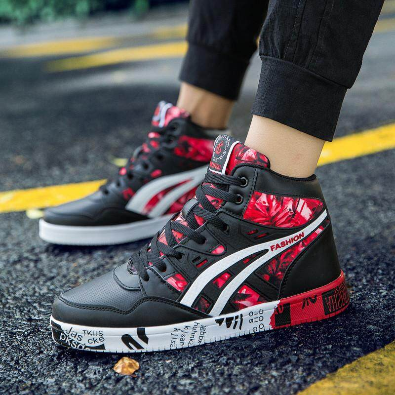 YOZO Sepatu Kets Pria Cetak Baru Mewah Pria Sepatu Kasual Sepatu Lari Datar Musim Dingin Hip Hop Atasan Tinggi Pria Sneaker Kulit PU Sepatu Ukuran Besar: 38-45 - 2