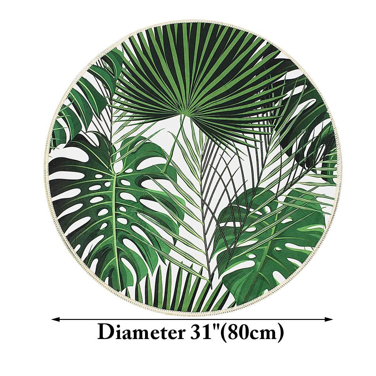 120cm Palm Leaf Pattern Round Carpet Living Room Rugs Yoga Floor Mat